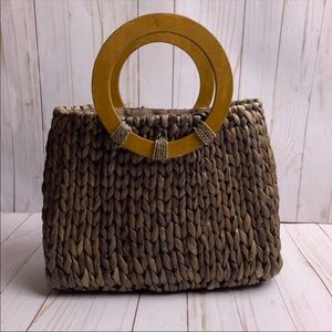 Woven Straw Tote With Wooden Handles